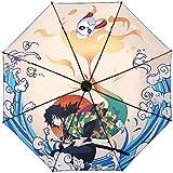bonus kids 折りたたみ 日傘 完全遮光 紫外線遮蔽率99 超耐風撥水 鬼滅の刃 梅雨対策 携帯しやすい晴雨兼用 98cm広さ 収納ポーチ付き