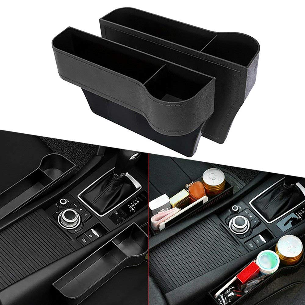 Passenger side and Driver side Riiai 2 Packs Car Gap Filler Leather Console Side Pocket Car Seat Organizer Catcher Storage Box for Cell Phones Wallet Coin Key with Cup Holder Black