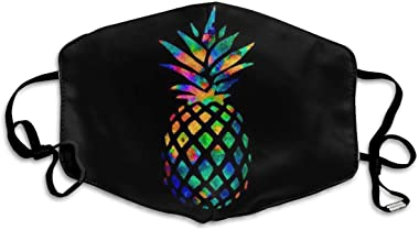 dgffgf Decorative Mask,Comfortable Adjustable Watercolor Pineapple Black Facial Decorations for Women and Men