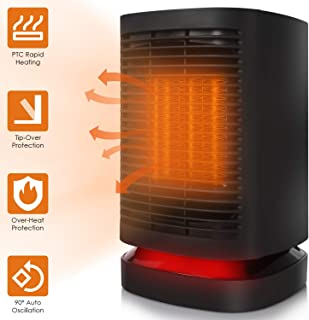 COMLIFE Ceramic Space Heater, 950W Portable Electric Fan Heater with Auto Oscillation, Mini Personal PTC Heater with Fan, ETL Listed, Tip-Over&Overheating Protection for Office Indoor Home