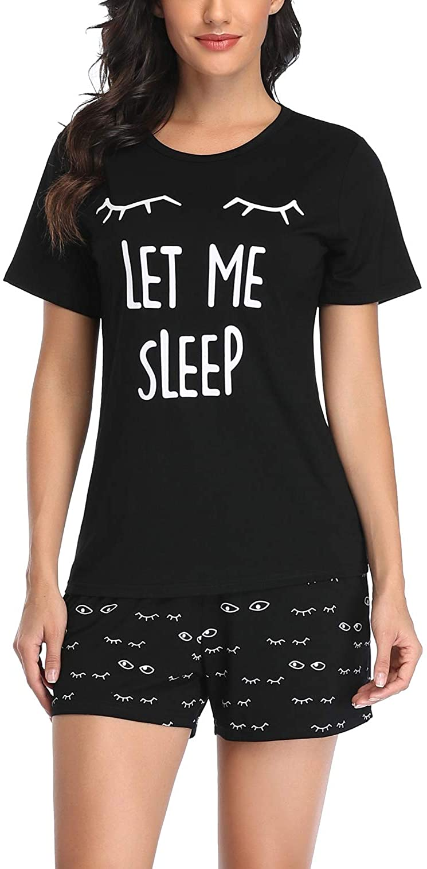 EISHOPEER Women's Short Pajama Set Cute Print Tee and Shorts Sleepwear Pjs Sets XS-XXL