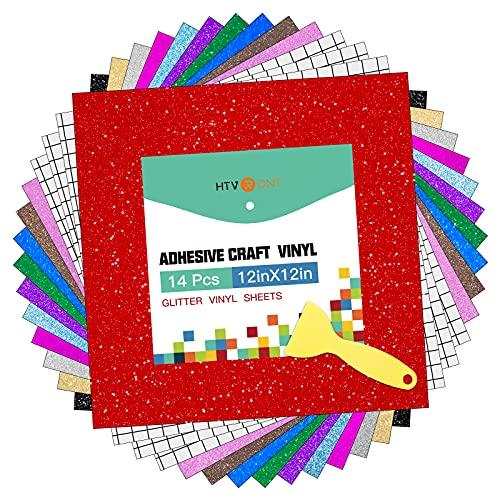 "HTVRONT Shimmer Vinyl - 12"" x 12"" 14 Sheets Glitter Permanent Vinyl for Cricut & 3 Pack Transfer Tape Assorted Colors Glitter Vinyl Sheets for Decorations Signs, Craft, Die Cutters"