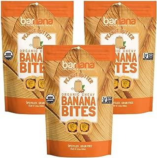 Barnana Organic Chewy Banana Bites - Peanut Butter - 3.5 Ounce, 3 Pack Bites - Delicious Barnana Potassium Rich Banana Snacks - Lunch Dinner Sports Hiking Natural Snack - Whole 30, Paleo, Vegatarian