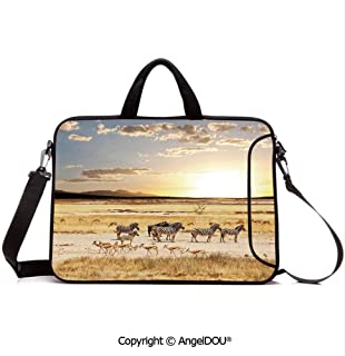 AngelDOU Laptop Sleeve Notebook Bag Case Messenger Shoulder Laptop Bag with Their Striped Coats in Savannahs Sunset Adventure Africa Wild Safari Compatible with MacBook HP Dell Lenovo Cream G