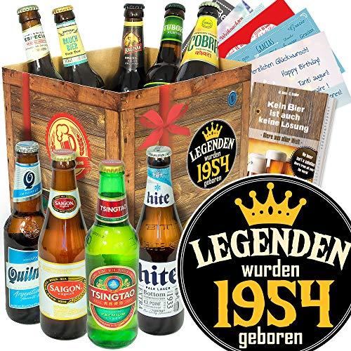 Legenden 1954 / Bierbox mit Bieren der Welt/Geschenke 65 Geburtstag Männer