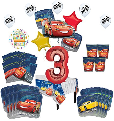 Disney Cars 3rd Birthday Party Supplies 8 Guest Kit and Balloon Bouquet Decorations