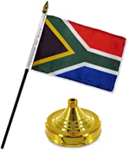 ALBATROS South Africa 4 inch x 6 inch Flag Desk Set Table Stick with Gold Base for Home and Parades, Official Party, All Weather Indoors Outdoors