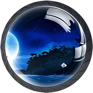 Moon Girl - Juego de 4 pomos para armario de cocina tiradores redondos para cajón y aparador