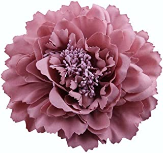 4.75 Inch Big Artificial Fabric Big Peony Flowers Hair Clip and Pin Accessory (Vintage pink)