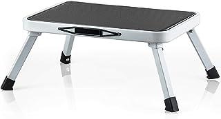 Tatkraft Stand Fällbart stål enkelstegspall, robust och säker TÜV-testad, rymmer upp till 150 kg, brett steg och halkskydd