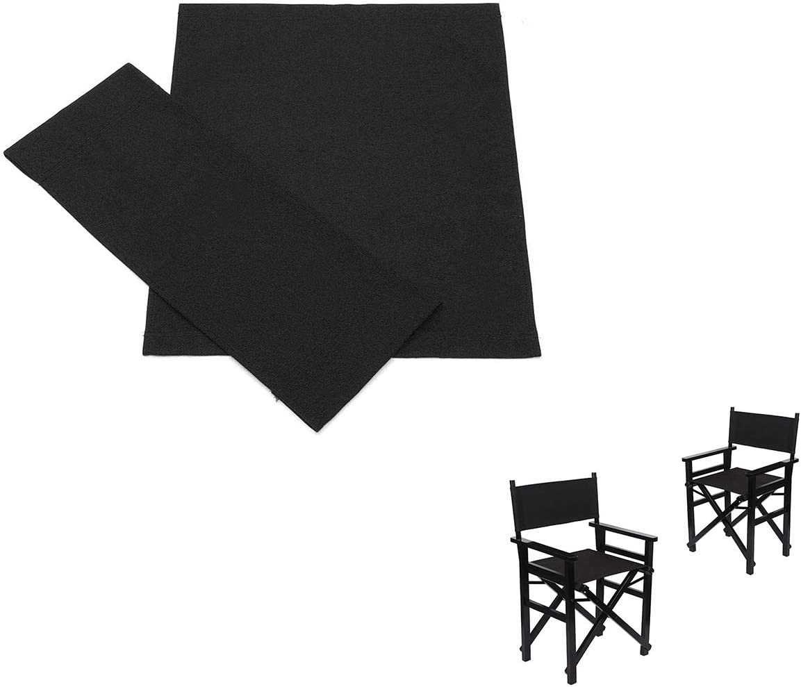 Black 1 Pair Portable Folding Chairs Cover Kit Canvas Chair Replacement Cover for Directors Chairs A0ZBZ Director Chair Cover