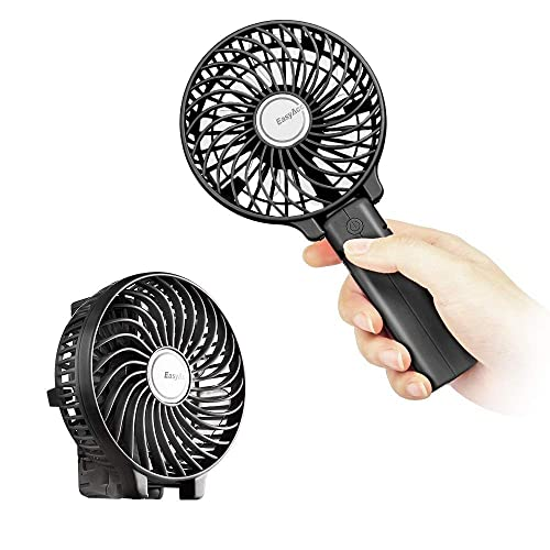 EasyAcc Handheld Electric USB Fans Mini Portable Outdoor Fan with Rechargeable 2600 mAh Foldable Handle Desktop for Home and Travel - Black