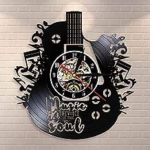 Fnito led Vinilo Reloj Pared La música es la Voz en el Alma Cita Musical Reloj de Pared Guitarra Disco de Vinilo Reloj de Pared Música Meditaciones Reloj Decorativo Reloj