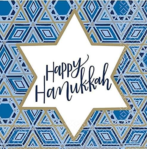 'Happy Hanukkah' Luncheon Napkins, 6.5' x 6.5' - 36 Pcs.