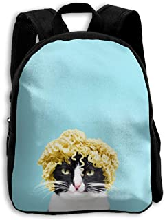 Funny Cat With Noodles On Head School Backpack For Girls Boys Bookbag School Bag For Kids Toddlers Cute Funny
