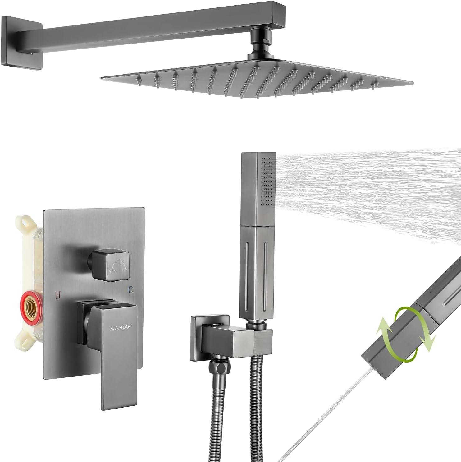 Buy Shower System Brushed Metal Gun Shower Faucet Set Complete ...