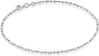 MiaBella 925 استرلینگ نقره ای الماس برش بیضی بیضی توپ زنجیره ای حلقه طلا و جواهر برای دختران نوجوان 9 ، 10 اینچ
