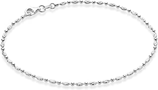 925 Sterling Silver Diamond-Cut Oval and Round Beaded Ball Chain Anklet Ankle Bracelet for Women Teen Girls, 9, 10 Inch Made in Italy