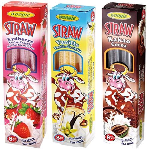 3 confezioni di cannucce magiche per bere latte aromatizzato, 1 x cioccolato 32 g, 1 x vaniglia 32 g e 1 x fragola 32 g aromi