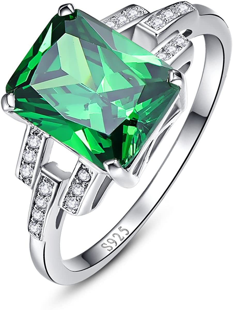Discount is also underway BONLAVIE Discount mail order Women's Created Emerald Rings 925 Birthstone Sterli May