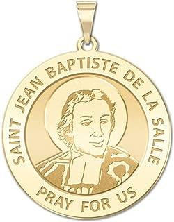 PicturesOnGold.com Saint Jean-Baptiste De La Salle Religious Medal - 1 Inch Size of a Quarter -Solid 14K Yellow Gold