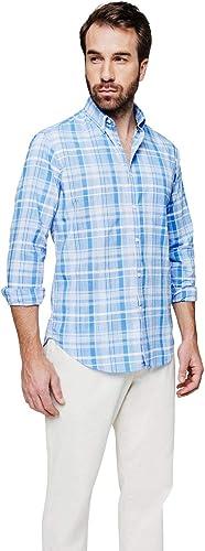 Chemise Sport à Motif écossais Turquoise