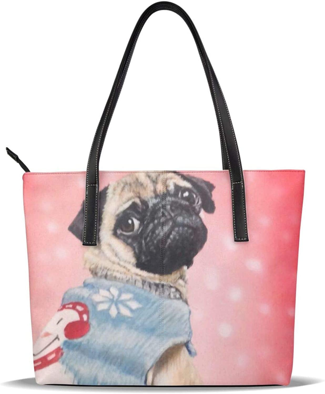 Red Pug Cute Dog Christmas Pu Pattern List price Casual Printed security Han Leather