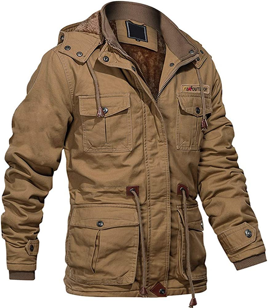 MAGCOMSEN Men's Winter Cargo Jacket with Multi Pockets Thicken Military Jackets Cotton Parka Jacket with Removable Hood