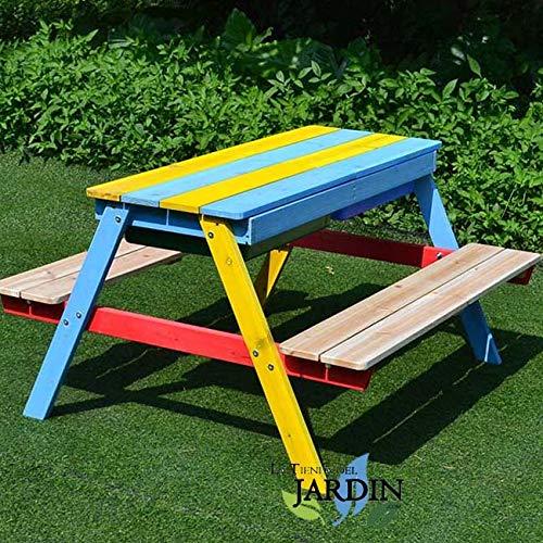 Suinga Mesa Picnic Infantil Madera 89x85x49 cm. Mobiliario idóneo para Uso en Jardines, Patios o terrazas