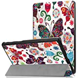 LG G Pad F2 8.0 Sprint (LK460) Case, Ratesell Slim Fit Protective Durable Premium Leather Stand Folio Case for LG GPad F2 8.0 Sprint Model LK460 8-Inch Android Tablet 2017 Release Blutterfly