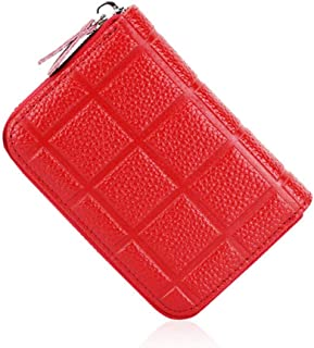Women's Wallet Plaid Leather Card Holder Card Set Multi-Function Coin Purse PVC Inner Page Card Holder Vertical Document Package (Color : Red, Size : S)