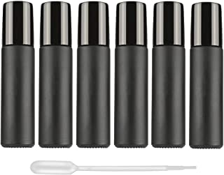 Essential Oil Roller Bottles, 6Pcs 10ml Black Glass Roller Bottles Vials Containers with Metal Roller Ball and black cap for Essential Oil Aromatherapy Perfume Cosmetic Skincare Liquid, 1 Dropper