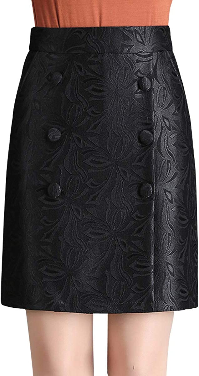 Wincolor Women's High Waist Floral Embroidered Mini Office Straight Skirts Wear to Work
