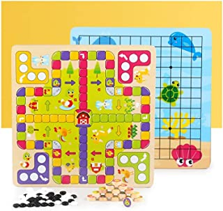 2 in 1 Ludo Board Game & Gobang (Five in a Row) Set with Chess Pieces,Flying Chess Family Game for Adults and Kids