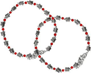 AyA Fashion Red Oxidised German Silver Tortoise Beads Anklet for Women