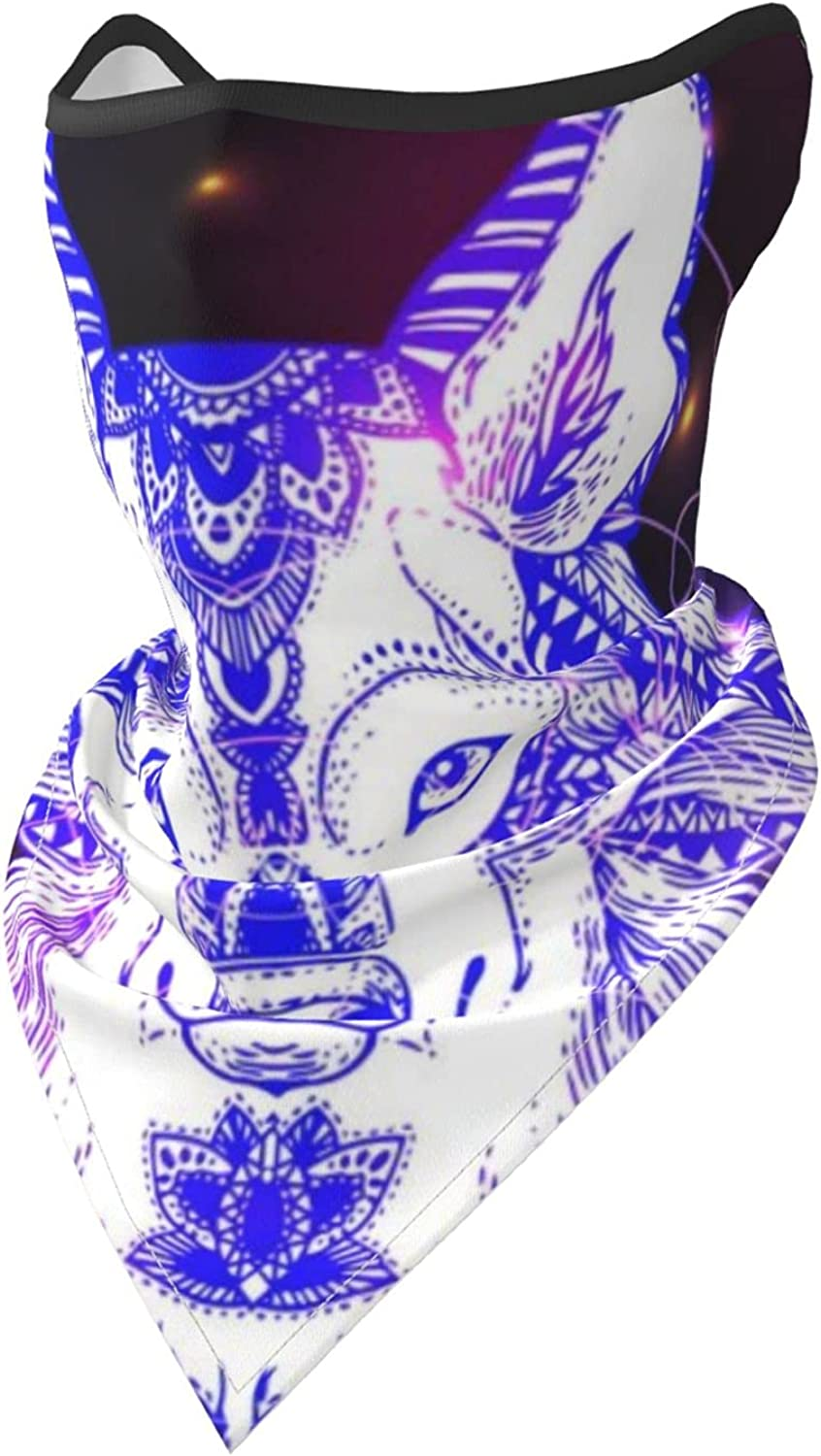 Boho Style Wolf Head Animal-4 Breathable Bandana Face Mask Neck Gaiter Windproof Sports Mask Scarf Headwear for Men Women Outdoor Hiking Cycling Running Motorcycling