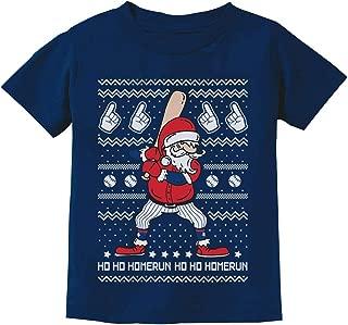 Ho Ho Home Run Santa Claus Baseball Player Ugly Christmas Toddler Kids T-Shirt