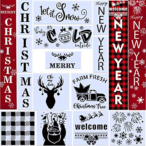 14PCS Reusable Christmas Stencil Happy New Year Stencil Let It Snow Stencil for Painting on Wood,Snowflake Template Baby It's Cold Outside Reusable Porch Sign for Creating Painting Beautiful Wood