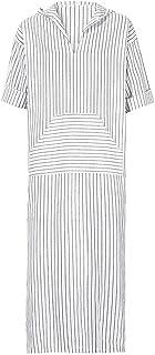 Balakie Mens Ethnic Robes Loose Striped Hooded Vintage Dress Kaftan