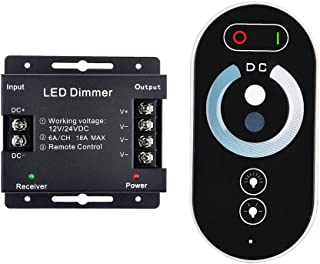 LED TOUCH Dimmer Control,RF Wireless Control Brightness LED Dimmer Switch,INHDBOX LED Strips Dimmer PWM 12 / 24V to 18A Touch RF Remote Controller Regulator