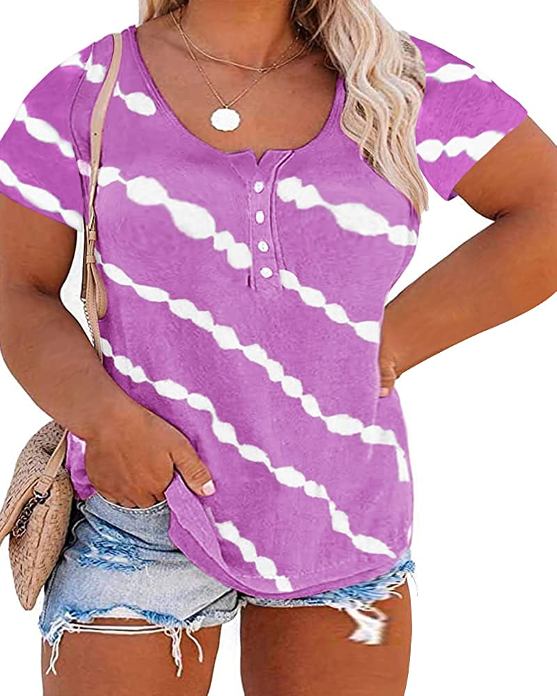Aoysky Womens Plus Size T Shirts Tie Dye Short Sleeve Casual Loose Summer Henley Tunic Tees Tops