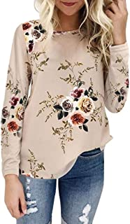 Trendy Autumn Women Floral Printing Long Flared Sleeve Casual Blouse Tops T-Shirt