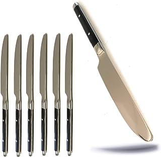 Kerafactum - Juego de 6 cuchillos de mesa Bistro con hoja de sierra y menú, cuchillo de carne, cuchillo de sierra, mango negro, remachado, cuchillo para Meat Knife Camping cubiertos de estilo rústico