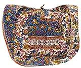 GURU SHOP Bolso de Sadhu, Bolso de Hombro, Bolso Hippie con Estampado de Bloques - Azul/estampado de Flores, Unisex - Adultos, Algodón, Tama�o:One Size, Bolsas de Hombro