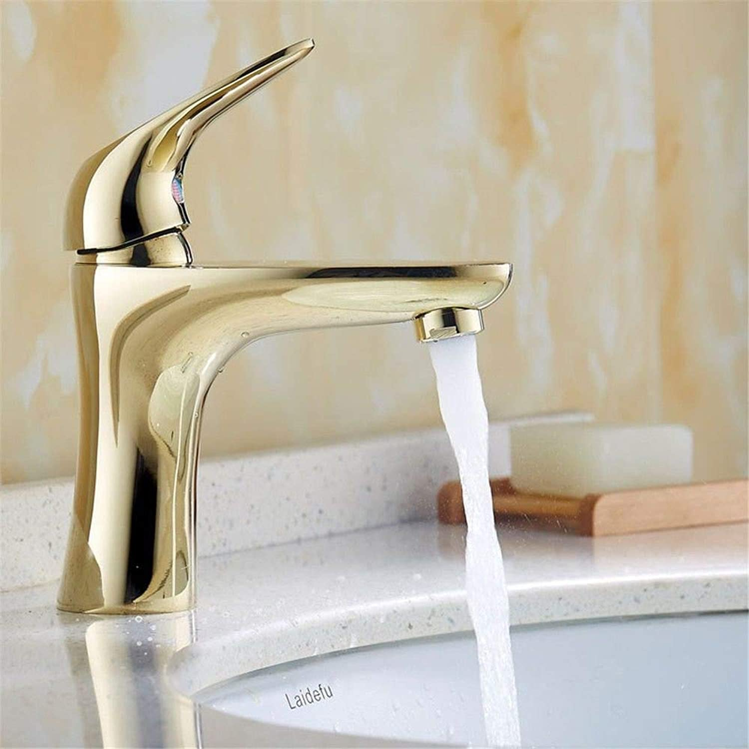 Bathroom Sink Tap Retro Brass golden Single Lever 1 Hole Ceramic Valve Hot and Cold Water Single Lever Sink Tap for Bathroom Faucet