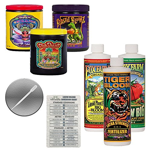 FoxFarm Nutrient Package Bundle: Big Bloom, Tiger Bloom, Grow Big, Cha Ching, Open Sesame, Beastie Bloomz (3 Pints + 3 6oz) + Twin Canaries Chart & Pipette