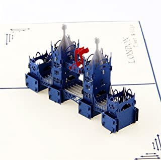 Creative 3D Greeting Card Handmade Paper Carved Hollow Birthday Architecture London Bridge Blue
