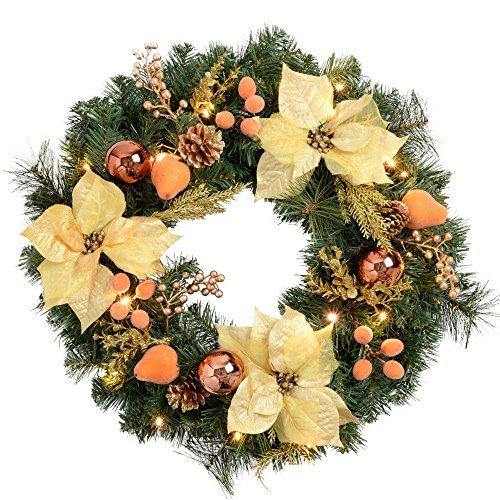 WeRChristmas - Ghirlanda natalizia decorativa, illuminata da 20 LED, luce bianca calda, colore: rame/oro, diametro: 60 cm