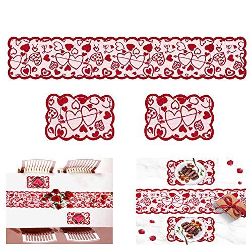 JAHEMU Camino de Mesa Rojo Tapete de Mesa Rectangular Manteles San Valentín Mantel Corazón Corredor de Mesa para Decoración Día De La Madre, Cumpleaños, 3 Piezas