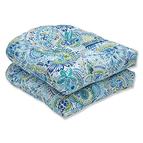 Pillow Perfect Outdoor/Indoor Gilford Baltic Tufted Seat Cushions (Round Back), 19' x 19', Blue, 2 Pack
